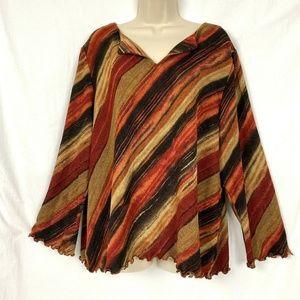 Avenue Sweater 22 24 Striped Ruffled Edge Autumn